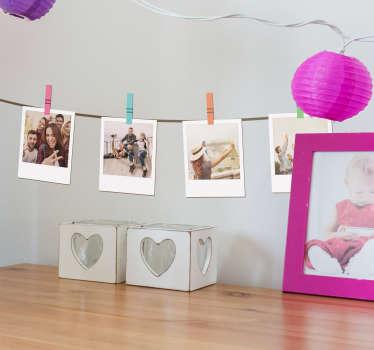 Wandfolie Polaroid Bilder Wäscheleine