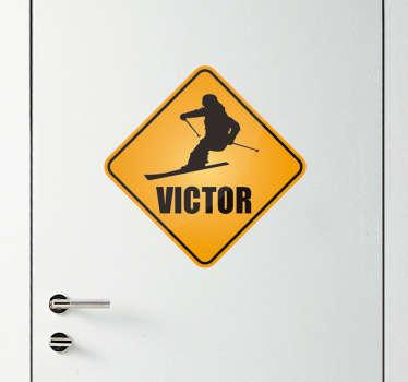 Sticker Sport Signal Ski avec Nom