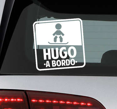 Baby on board sticker for car decoration. It is a baby on snowboard design with name customization. Provide any name you want printed on it.