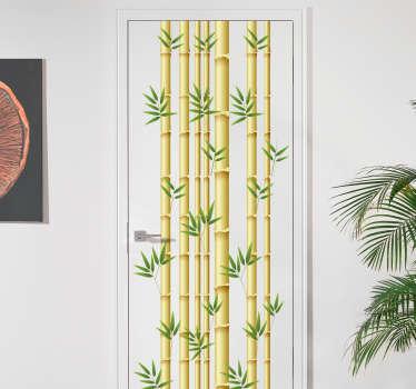 Vinilo para puerta cañas bambú