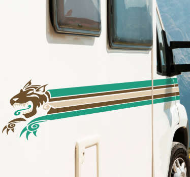 Aufkleber Fahrzeug Campingvan Linien Wolf