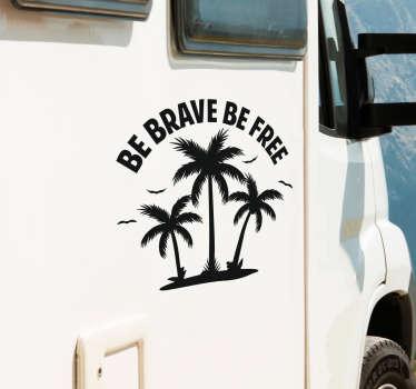 Vinilo frase palmeras para caravana