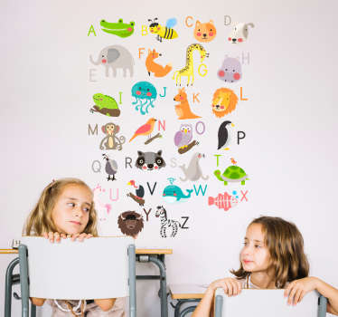 Naklejka ścienna alfabet z obrazkami zwierząt