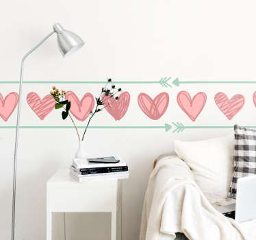Add some hearts to your wall this February with this superb love themed wall border sticker! Extremely long-lasting material.