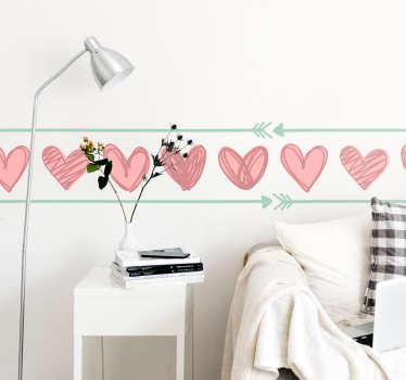 Wandtattoo Jugendzimmer Herzen Liebe Bordüre