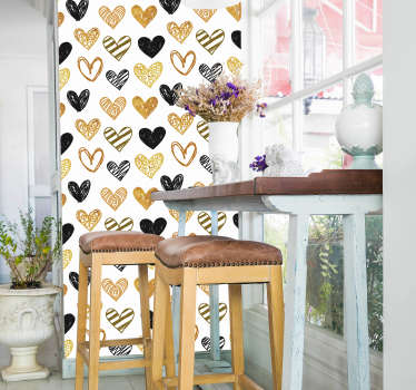 Valentine's day wall sticker decoration created with patterned hearts prints in different. Easy to apply and available in different size options.