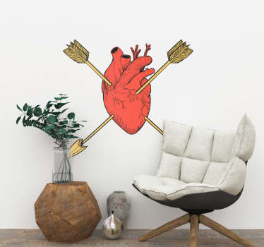 Valentine's day wall sticker with the design of a heart organ pierce with arrows. Available in any required size. Easy to apply and adhesive.