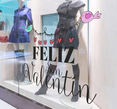 """Original vinilo para escaparate formado por el texto """"Feliz San Valentín"""" acompañado de una guirnalda de corazones. Descuentos para nuevos usuarios."""