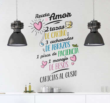 Valentine love wall sticker with love recipe text design that can be place on any flat surface in the home. Easy to apply and available in any size.