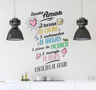 Original vinilo adhesivo para la cocina formado por la receta del amor acompañado de varias ilustraciones. +10.000 Opiniones satisfactorias.