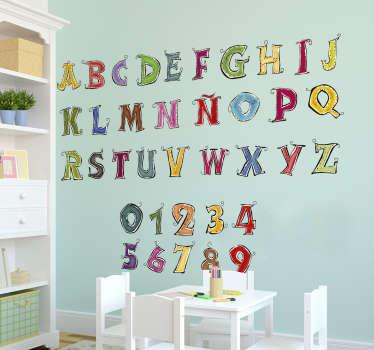 Original y colorido mural educativo formado por el abecedario es castellano y los números del 0 al 9. Vinilos Personalizados a medida.
