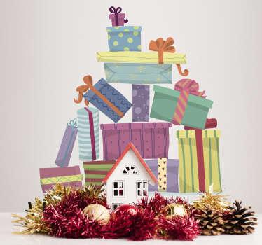 Vinilo pared montaña de regalos