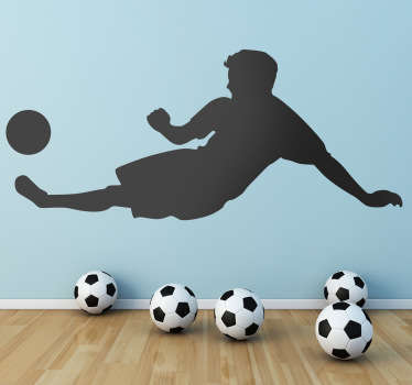 Sports Stickers - A footballer in action slide tackling. Ideal for kids' rooms and sports teams. Zero residue upon removal.