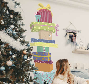 Present Pile Christmas Wall Sticker