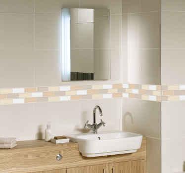 Fantástica cenefa de azulejos autoadhesiva formada por un serie de rectángulos en diferentes tonos de beige. Envío Express en 24/48h.
