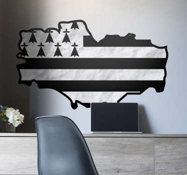 Country flag wall sticker design of Brittany map. It is available in any required size. Easy to apply and self adhesive.