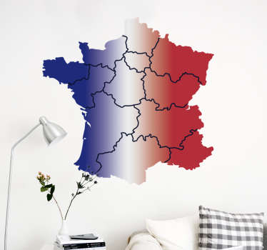 France provinces map wall decal for home and office decoration. Available in different size options. Easy to apply and adhesive.