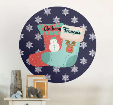 Customisable Christmas stocking christmas sticker