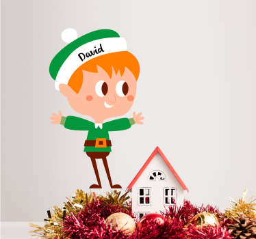 Add a customisable elf to your home with this magnificent children´s bedroom Christmas wall sticker! Discounts available.