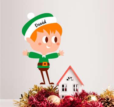Moški elf prilagodljiva božična nalepka