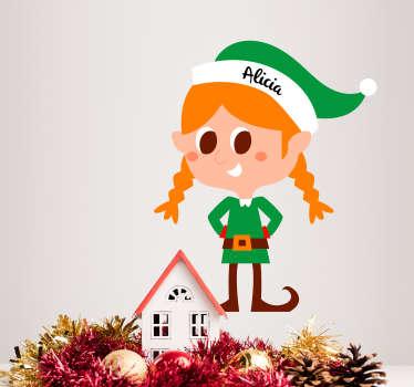 Female Elf Customisable Christmas Sticker