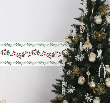 Decorative ornamental border sticker for home created with fir garland. Easy to apply and available in any required size.