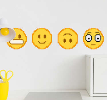 Autocolantes decorativos de arte emoji pixel