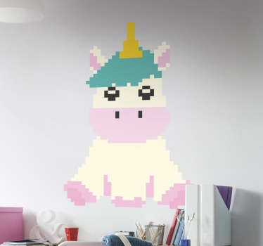 Vinilo pared unicornio pixel art