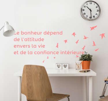 励志报价墙贴纸。一种带有飞鸟和关于生活的文字谚语的设计。提供不同的颜色和尺寸。