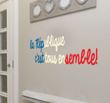 A country flag theme wall sticker designed with text ''Republic of all together''. Easy to apply and available in different sizes.