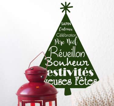 Sticker Entrée Arbre de Noël Bonheur
