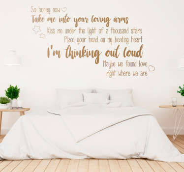 Add some Ed Sheeran lyrics to the wall of your bedroom with this fantastically romantic headboard sticker! Discounts available.