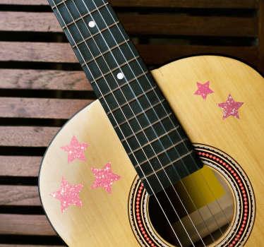 这款梦幻般的明星主题装饰贴花为您的吉他增添了一点光彩!防气泡乙烯基。