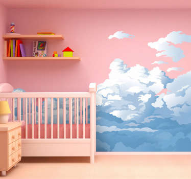 A brilliant design from our collection of cloud wall stickers illustrating a cloudy sky ideal to decorate the bedroom of the little ones.