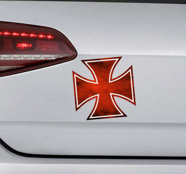 An adhesive iron cross car vinyl Sticker. A design made of  colorful iron cross. Easy to a[ply, self adhesive and available in different sizes.