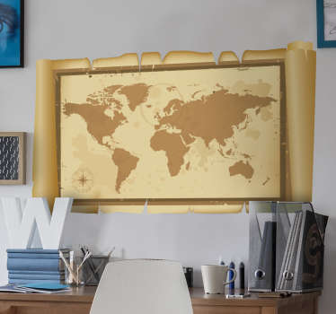Parchment World Map Wall Sticker