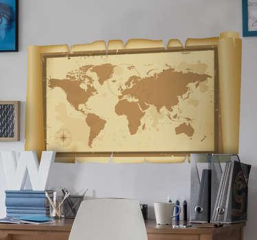 Naklejka dekoracyjna mapa świata pergamin