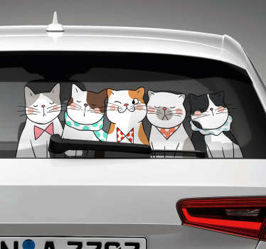 Cat hovering Car vinyl Sticker. A clowder of cats made of quality vinyl material. Easy to apply and available in any required size.