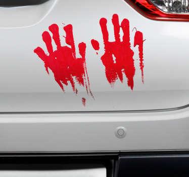 Naklejka na samochód ślad zakrwawionych dłoni