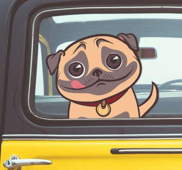 Naklejka na samochód przyjazny mops