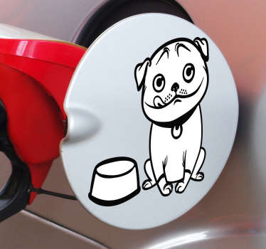 Kjøretøy med klistremerke for hundbrensel