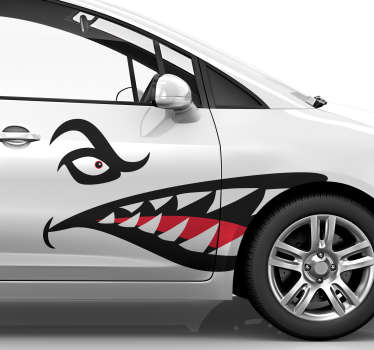 Transform your car into a scary shark with this fantastic car decal, depicting the teeth and eyes of the legendary shark! Available in 50 colours.