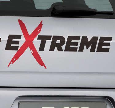 текстовый стикер экстремальный автомобиль