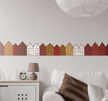 Dekorere ethvert rom i hjemmet med denne veggmatten som illustrerer bryggen i bergen - en av de vakreste arkitekturene i norge!