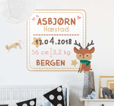 Personalize this wall stickers with all information regarding the birth of your child and decorate the baby room! Available in differetn sizes.