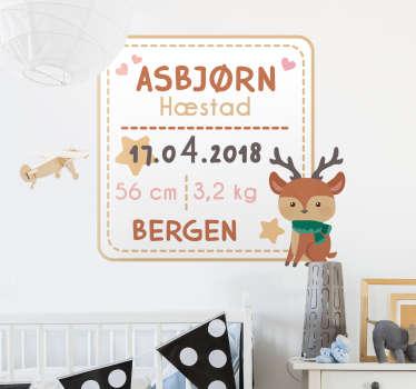 Baby fødselsattest vegg klistremerker for barn