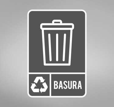 Original pegatina adhesiva para fomentar el reciclaje con el icono de la basura general. Promociones Exclusivas vía e-mail.