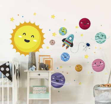 Autocolantes do espaço sistema solar infantil