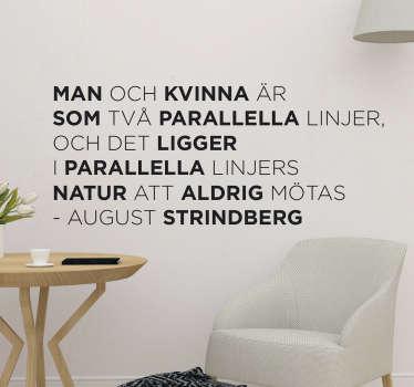 August strindberg citat vardagsrum väggdekoration