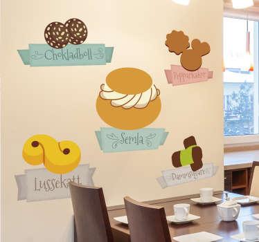 Traditionell svenskt sötsaksklistermärke, perfekt för svenska receptklistermärken och svenskt matmallar i köket. Ejoy sverige vägg klistermärken!